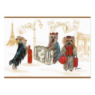 Yorkies París que viaja Tarjetas De Visita Grandes