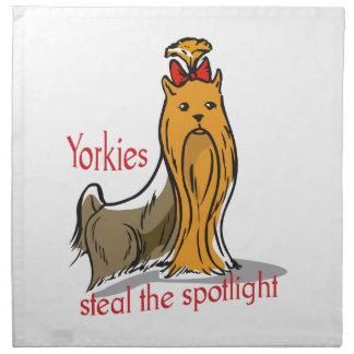 Yorkies roba el proyector servilleta imprimida