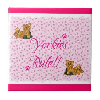 Yorkies  Rule Pawprint Tile ~ pink