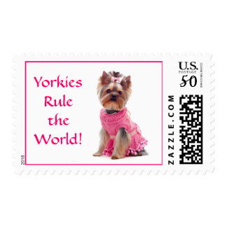 Yorkies Rule the World US Postage Stamp