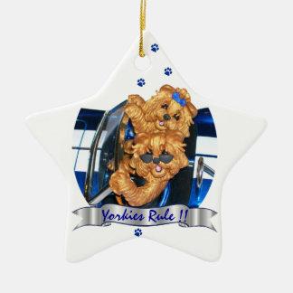 Yorkies Rule !! Yorkshire Terrier Art Ornament st