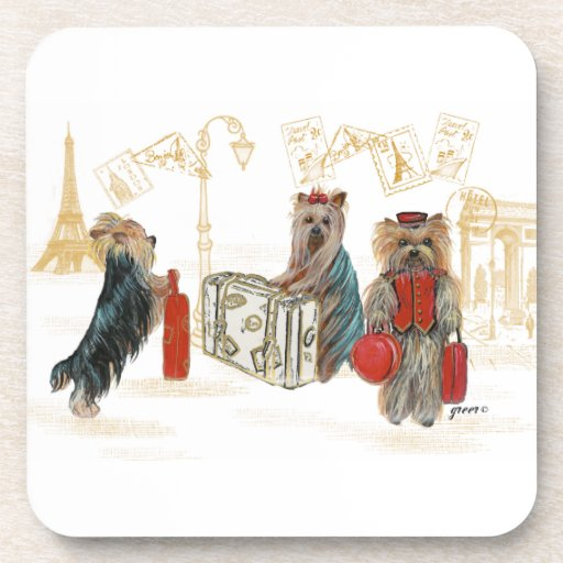 Yorkies Travelling Paris Coaster