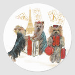 Yorkies Travelling Paris Gifts for... - Customized Round Stickers