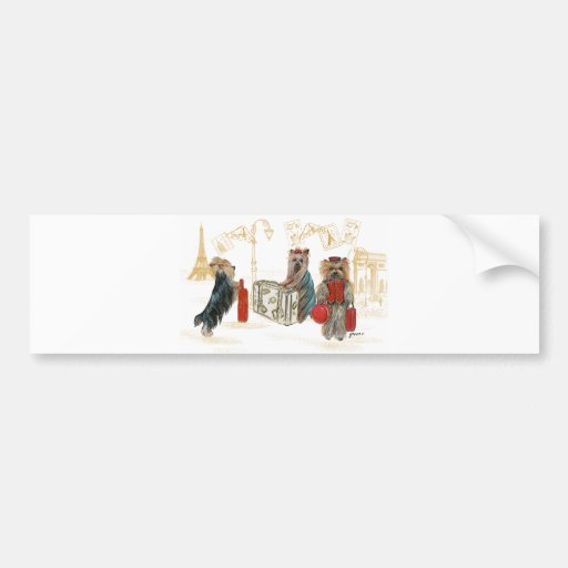 Yorkies Travelling Paris Gifts for the Family Car Bumper Sticker