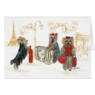 Yorkies Travelling Paris Gifts for the Family Greeting Card