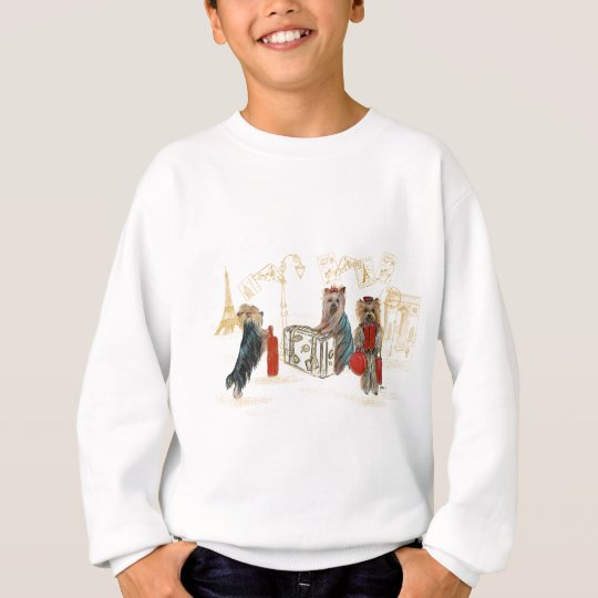 Yorkies Travelling Paris Gifts for the Family Sweatshirt