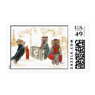 Yorkies Travelling Paris Postage Stamp