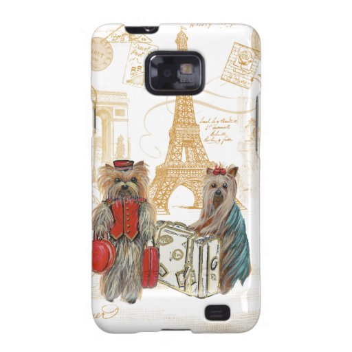 Yorkies Travelling Paris Samsung Galaxy S2 Covers