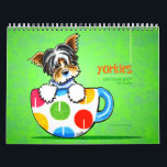 "Yorkies Yorkshire Terriers Off-Leash Art™ Vol 1 Calendar<br><div class=""desc"">Cute wall calendar for your home,  office,  or gift for a dog-loving friend. Features a different original illustration by Off-Leash Art™ each month of the favorite Yorkie dog breed.</div>"