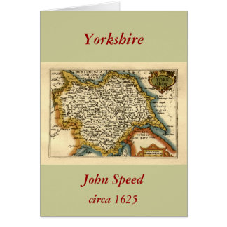 Yorkshire County Map, England Card