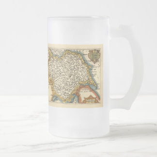 Yorkshire County Map, England Frosted Glass Beer Mug