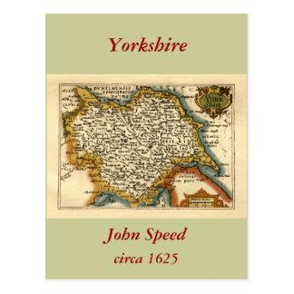 Yorkshire County Map England Postcard