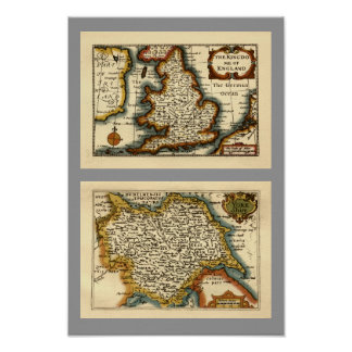 Yorkshire County Map, England Posters