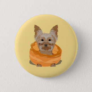 Yorkshire Pudding Terrier Badge Button