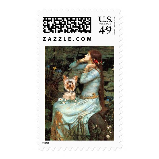 Yorkshire Terrier 17 - Ophelia Seated Postage Stamp