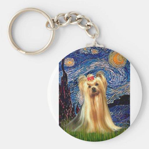 Yorkshire Terrier 1 - noche estrellada (Vert.) Llavero Redondo Tipo Pin