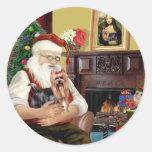 Yorkshire Terrier #9 de Santa Etiquetas Redondas