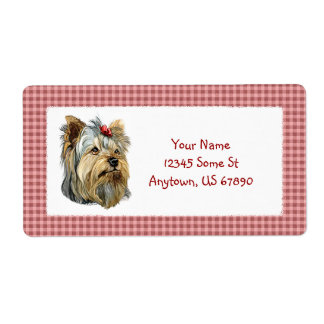 Yorkshire Terrier Bust Red Bow Shipping Label