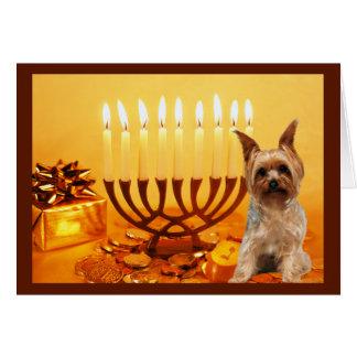Yorkshire Terrier Chanukah Card Menorah