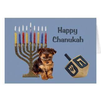 Yorkshire Terrier Chanukah Card Menorah Dreidel