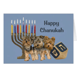 Yorkshire Terrier Chanukah Card Menorah Dreidel