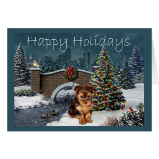 Yorkshire Terrier Christmas Card Evening
