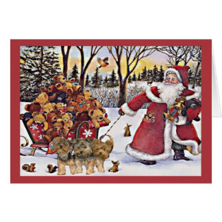 Yorkshire Terrier Christmas Card Santa Bears In Sl