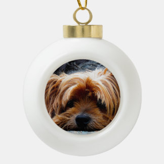 Yorkshire Terrier Christmas Ceramic Ball Christmas Ornament