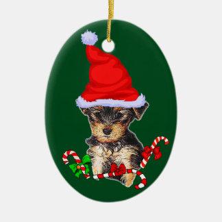 Yorkshire Terrier Christmas Ceramic Ornament
