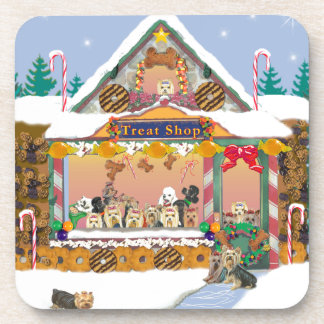 Yorkshire Terrier Christmas Gingerbread House Drink Coasters