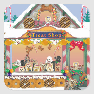 Yorkshire Terrier Christmas Gingerbread House Square Sticker