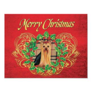 "Yorkshire Terrier Christmas Holly Invitation Card 4.25"" X 5.5"" Invitation Card"