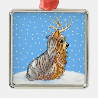 Yorkshire Terrier Christmas Reindeer Ornament