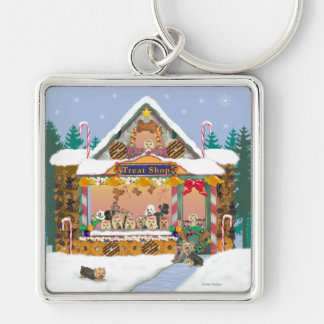 Yorkshire Terrier Christmas Treat Shop Holiday Silver-Colored Square Keychain
