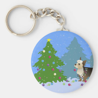 Yorkshire Terrier decorating Christmas Tree-forest Keychain