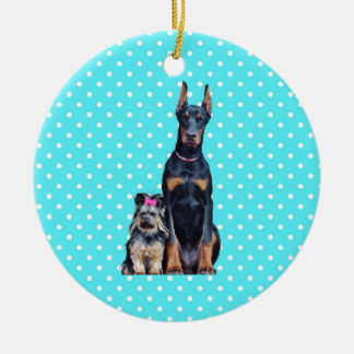 Yorkshire Terrier Doberman Blue Polka Dots Ceramic Ornament