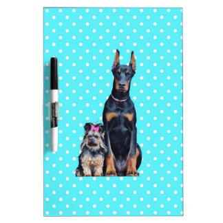 Yorkshire Terrier Doberman Blue Polka Dots Dry Erase Board