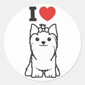 Yorkshire Terrier Dog Cartoon Classic Round Sticker