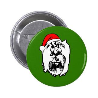 Yorkshire Terrier Dog Christmas Santa Hat Button