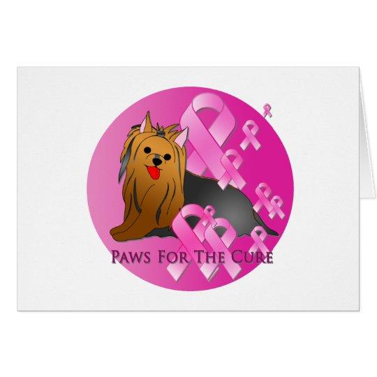 Yorkshire Terrier Dog Pink Ribbon Card