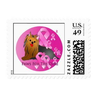 Yorkshire Terrier Dog Pink Ribbon Stamps