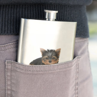 Yorkshire Terrier dog, yorkie puppy cute hip flask