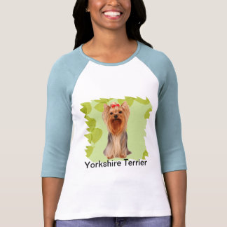 Yorkshire Terrier ~ Green Leaves Design T Shirts