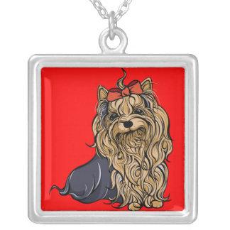 Yorkshire Terrier Illustration Square Pendant Necklace