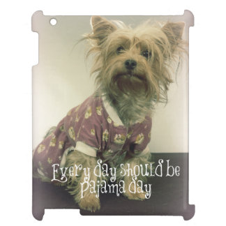 Yorkshire Terrier in Pajamas with Quote iPad Case
