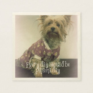 Yorkshire Terrier in Pajamas with Quote Paper Napkin