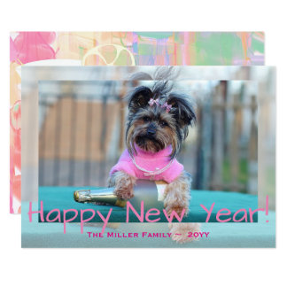 Yorkshire Terrier in Pink Happy New Year Dog Photo Card