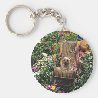 Yorkshire Terrier Keychain Garden