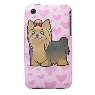 Yorkshire Terrier Love (long hair with bow) iPhone 3 Case