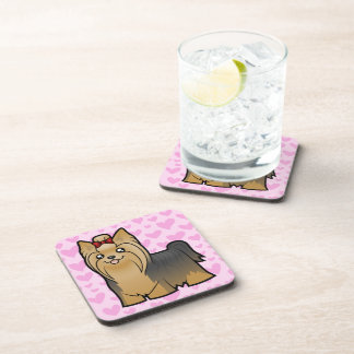Yorkshire Terrier Love (long hair with bow) Drink Coaster